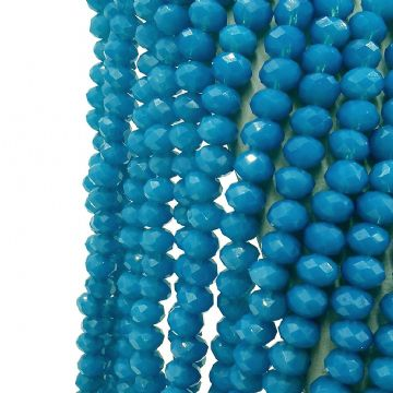 72 pcs x 8mm Glass Faceted Rondelle Opaque Blue 100